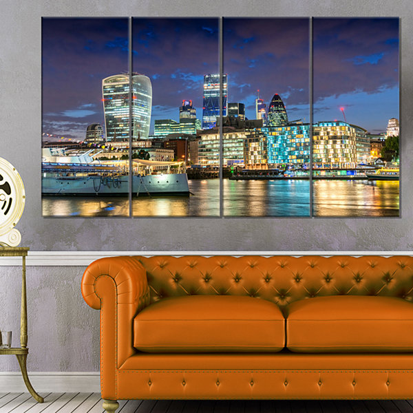 Designart Thames River at Night Cityscape Photography CanvasPrint - 4 Panels