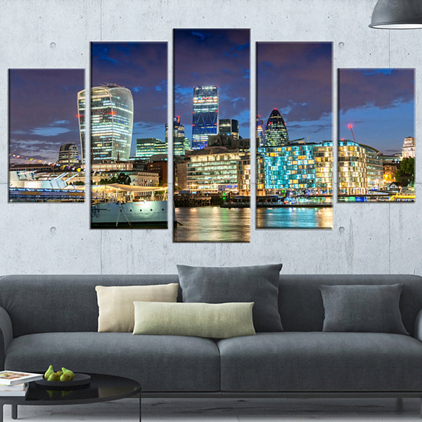 Designart Thames River at Night Cityscape Photography CanvasPrint - 5 Panels