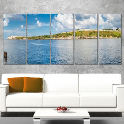 Designart the Bay of Havana Panorama Seascape Canvas Art Print - 4 Panels