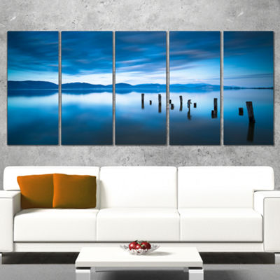 Designart Blue Lake with Wooden Pier Landscape Photography Canvas Print - 4 Panels