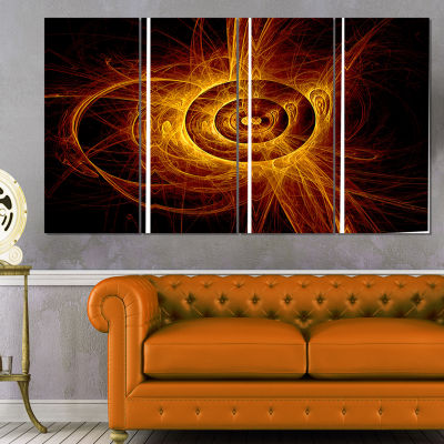 Designart the Flashing Yellow Flame Abstract Printon Canvas- 4 Panels