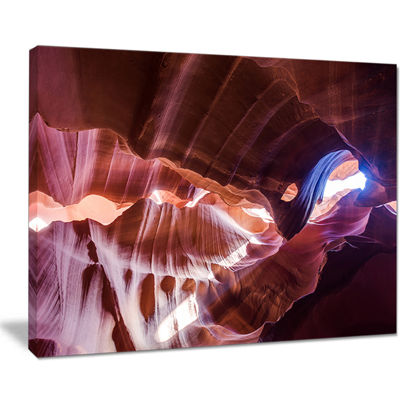 Designart Blue Light in Antelope Canyon LandscapePhotography Canvas Print - 4 Panels
