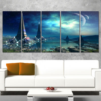 the Towers of Gremor Alien Planet Abstract Print on Canvas - 4 Panels