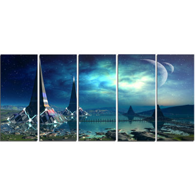 Designart the Towers of Gremor Alien Planet Abstract Print on Canvas - 5 Panels