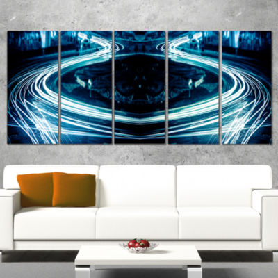 Designart Blue Light Trails Abstract Canvas Art Print - 5 Panels