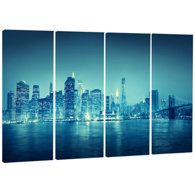 Designart Blue New York at Night Cityscape DigitalArt Canvas Print - 4 Panels