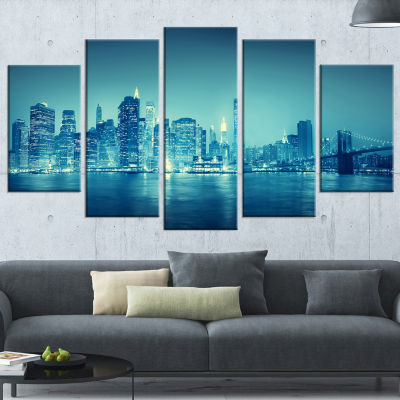 Designart Blue New York at Night Cityscape DigitalArt Canvas Print - 4 Panels