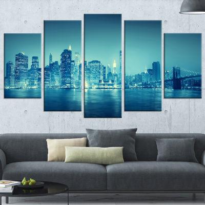 Designart Blue New York at Night Large CityscapeDigital Art Canvas Print - 5 Panels