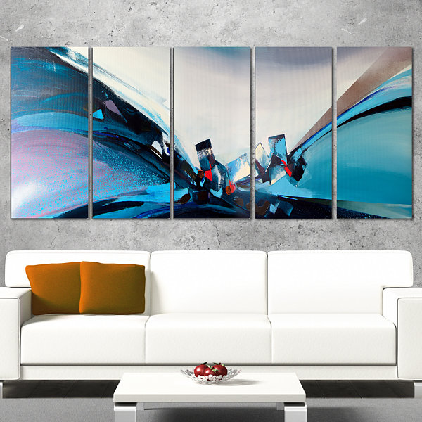 Designart Blue Panoramic Abstract Design AbstractCanvas Art Print - 4 Panels