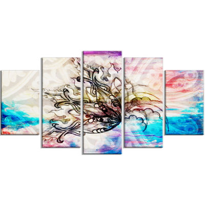 Designart Blue Paper Flower and Flame Floral ArtCanvas Print - 4 Panels