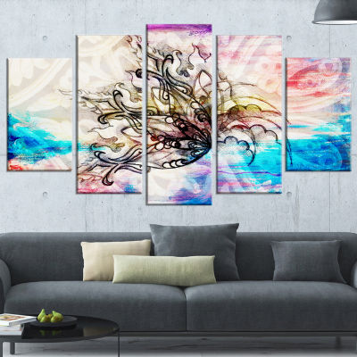 Designart Blue Paper Flower and Flame Large FloralArt Canvas Print - 5 Panels