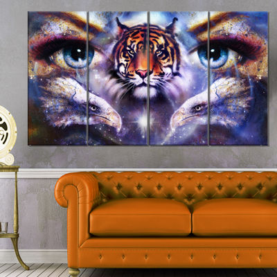 Designart Tiger with Woman Eyes Animal Canvas ArtPrint - 4Panels