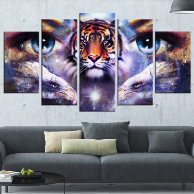 Designart Tiger with Woman Eyes Animal Wrapped ArtPrint - 5Panels