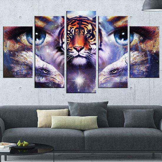 Designart Tiger with Woman Eyes Animal Wrapped ArtPrint - 5Panels