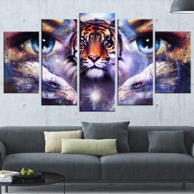Designart Tiger with Woman Eyes Animal Canvas ArtPrint - 5Panels