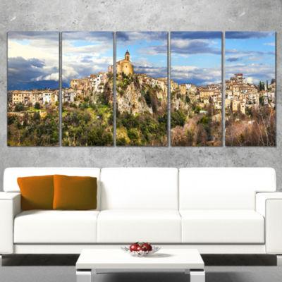 Designart Toffia Hilltop Village Italy Landscape Art Print Canvas - 4 Panels