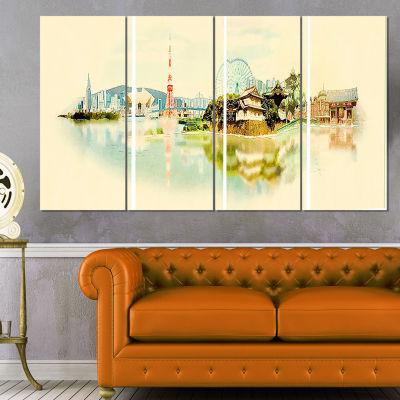 Designart Tokyo Panoramic View Cityscape Watercolor Canvas Print - 4 Panels