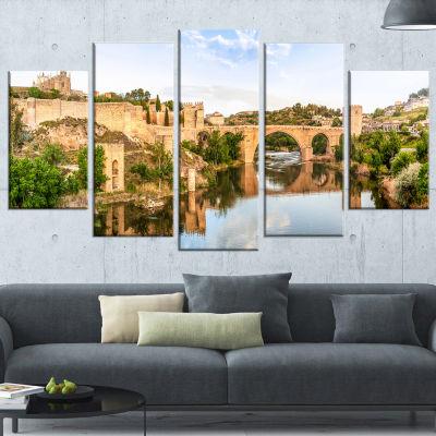 Designart Toledo Bridge in Spain Landscape Photography Wrapped Art Print - 5 Panels