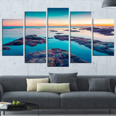 Designart Blue Sicily Island Seascape PhotographyCanvas Art Print - 5 Panels