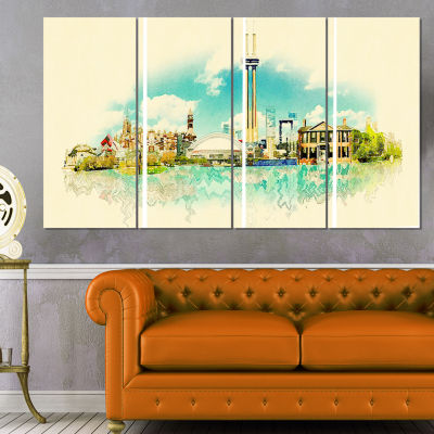 Designart Toronto City Watercolor Cityscape Painting CanvasPrint - 4 Panels