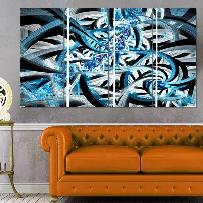 Designart Blue Spiral Fractal Design Abstract Canvas Art Print - 4 Panels