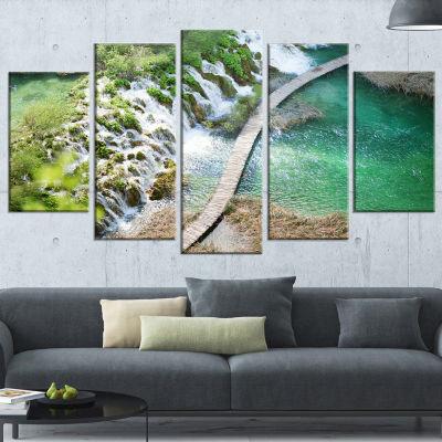 Designart Tourist Path in Plitvice Lakes LandscapePhoto Canvas Art Print - 5 Panels