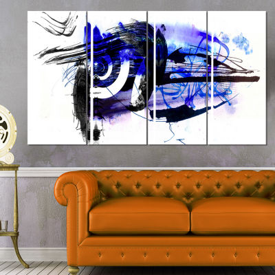 Designart Blue Stain Abstract Abstract Canvas ArtPrint - 4 Panels