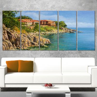Designart Blue Summer Sea Landscape Painting Canvas Art Print - 4 Panels