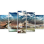 Designart Tower Bridge at Night Landscape Photography Wrapped Art Print - 5 Panels