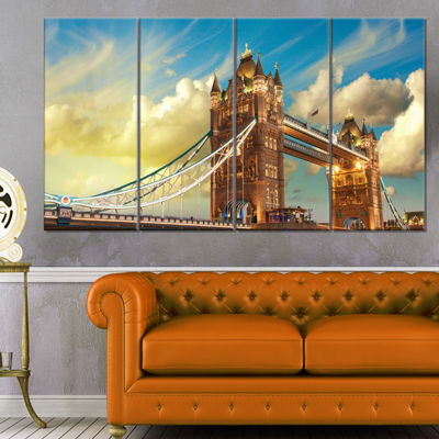 Designart Tower Bridge London at Sunset CityscapePhoto Canvas Print - 4 Panels