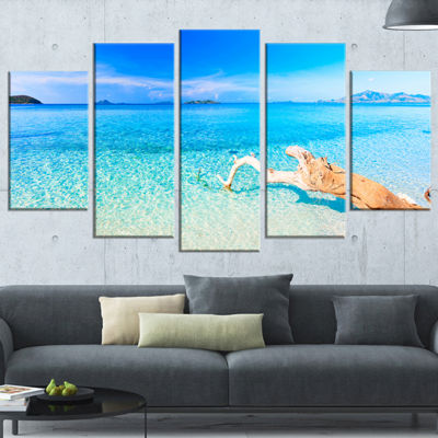 Designart Blue Tropical Beach Panorama PhotographyWrapped Canvas Art Print - 5 Panels