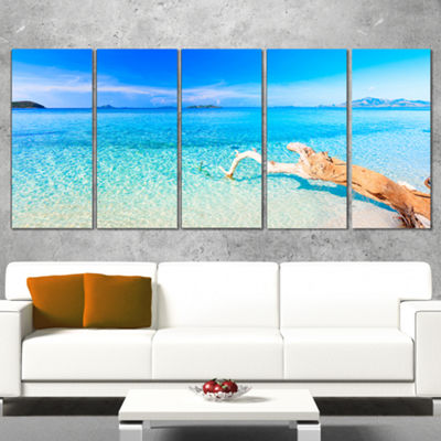 Designart Blue Tropical Beach Panorama PhotographyCanvas Art Print - 5 Panels