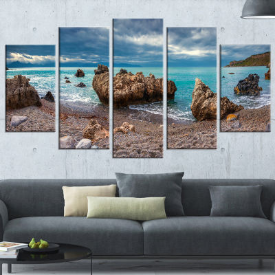 Designart Blue Volcanic Beach Seashore PhotographyWrapped Canvas Print - 5 Panels