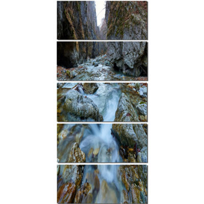Designart Blue Water in River Landscape Photography Canvas Art Print - 4 Panels