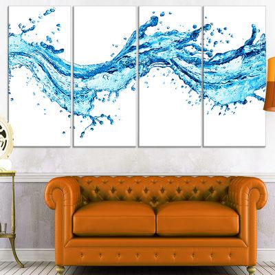 Designart Blue Water Splashes Abstract Canvas ArtPrint - 4 Panels