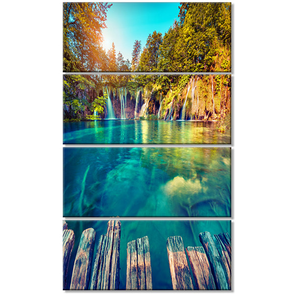 Designart Blue Waters in Plitvice Lakes LandscapePhoto Canvas Art Print - 4 Panels