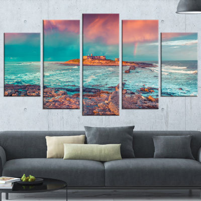 Designart Blue Waters in Spring Seascape Photography Wrapped Canvas Art Print - 5 Panels