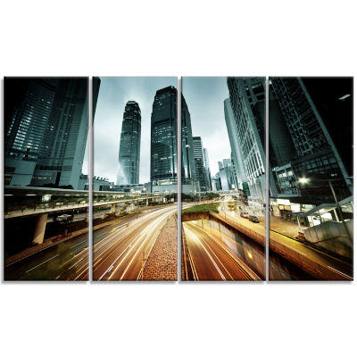 Designart Traffic in Hong Kong at Sunset CityscapePhoto Canvas Print - 4 Panels