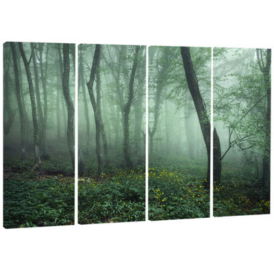 Designart Trail Through Dark Foggy Forest Landscape Photography Canvas Print - 4 Panels