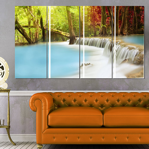 Designart Blue Waters of Huai Mae Kamin WaterfallLandscapeArt Print Canvas - 4 Panels