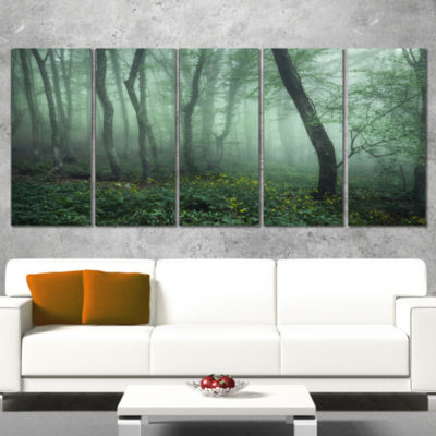 Trail Through Dark Foggy Forest Landscape Photography Canvas Print - 5 Panels