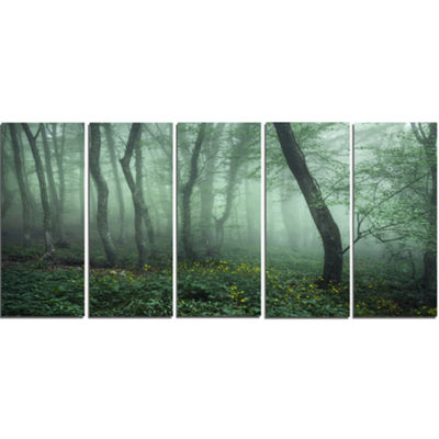 Designart Trail Through Dark Foggy Forest Landscape Photography Canvas Print - 5 Panels