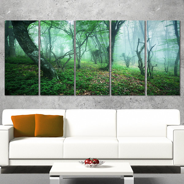 Designart Trail Through Green Forest Landscape Photography Canvas Print - 5 Panels