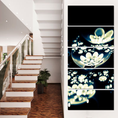 Blue White Fractal Flowers in Dark Floral Canvas Art Print - 5 Panels