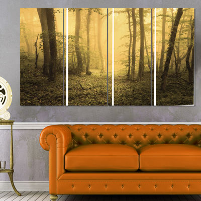 Designart Trail Through Yellow Foggy Forest Landscape Photography Canvas Print - 4 Panels