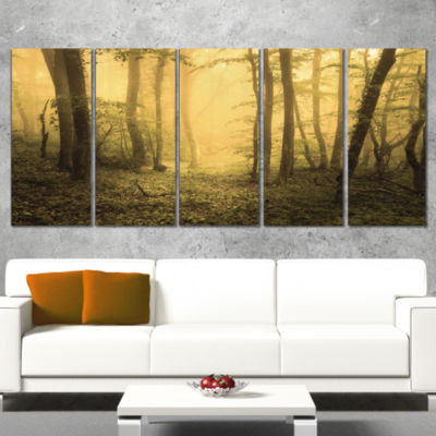 Designart Trail Through Yellow Foggy Forest Landscape Photography Canvas Print - 5 Panels