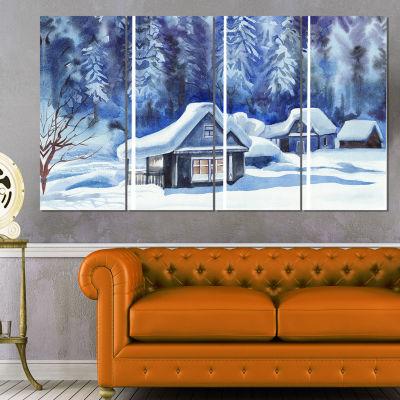 Designart Blue Winter Cottages Landscape Art PrintCanvas -4 Panels