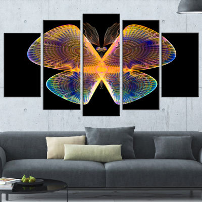Designart Blue Yellow Fractal Butterfly in Dark Abstract Canvas Art Print - 5 Panels