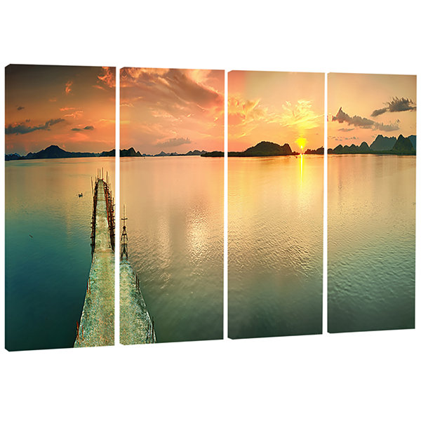 Tranquil Sunset Panorama Photography Canvas Art Print - 4 Panels