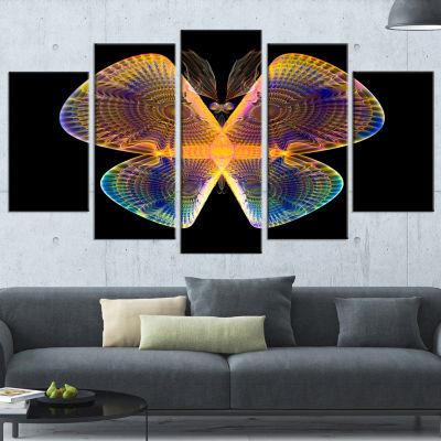 Designart Blue Yellow Fractal Butterfly in Dark ContemporaryCanvas Art Print - 5 Panels